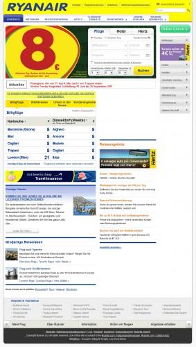 Ryanair neues Webdesign