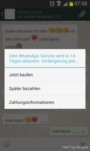 WhatsApp Laufzeit verlängern
