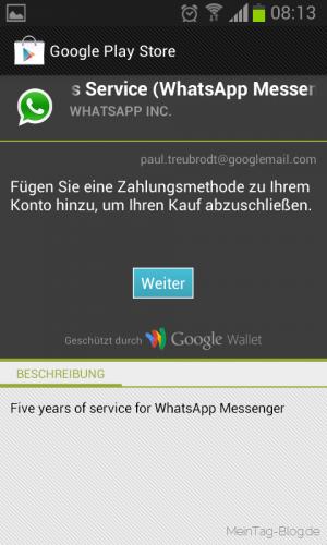 WhatsApp Zahlungsabwicklung