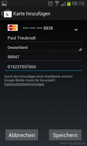 WhatsApp Kreditkarte anlegen
