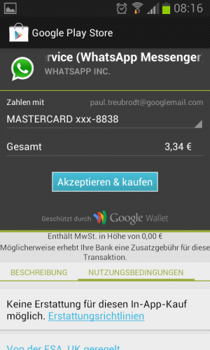 WhatsApp Kauf bestätigen